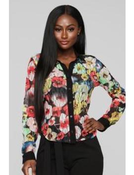 Floral Lace Button Down Top   Black/Multi Color by Fashion Nova