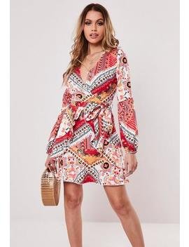 Peach V Neck Paisley Print Swing Dress by Missguided