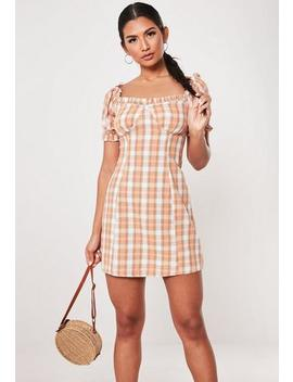Peach Check Milkmaid Bardot Mini Dress by Missguided