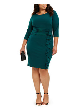 Plus Size Ruched Waist Side Ruffled Dress by General