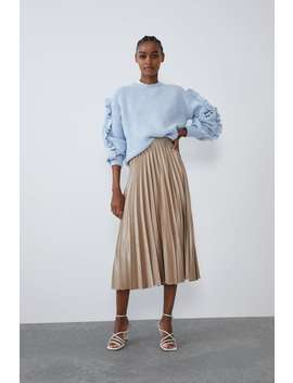Pleated Satin Effect Skirt View All Skirts Woman by Zara