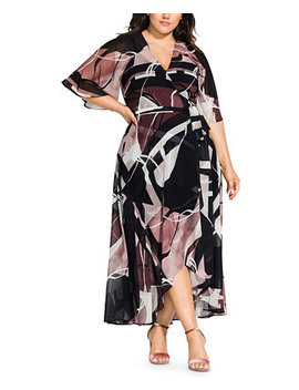 Trendy Plus Size Sahara Printed Wrap Maxi Dress by General