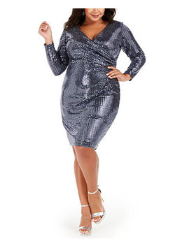 Plus Size Sequin Wrap Dress by General
