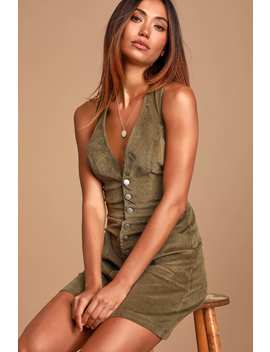 Wander My Way Olive Green Corduroy Pinafore Dress by Lulus