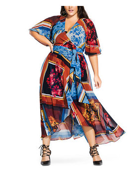 Trendy Plus Size Golden Rose Printed Wrap Maxi Dress by General