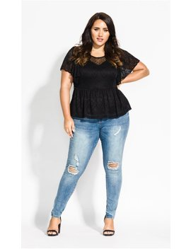 Cascade Lace Top   Black by City Chic