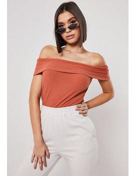 Rust Fold Over Bardot Sleeveless Crop Top by Missguided