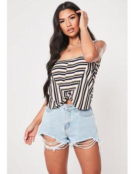 Multi Stripe Twist Front Vest Top by Missguided