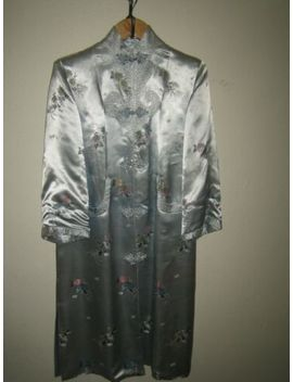 Vintage Ice Blue Satin Japanese Damask Robe Tunic Jacket Robe Quilted S M by Unbranded