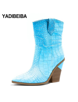 Western Boots Pointed Toe Ankle Boots For Women Winter Boots Women Boots Female Winter Cowboy Booties Plus Size 42 Free Shipping by Ali Express.Com