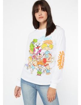 White '90s Nickelodeon Long Sleeve Graphic Tee by Rue21
