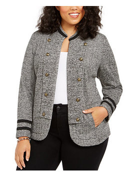 Plus Size Double Breasted Open Front Jacket by General