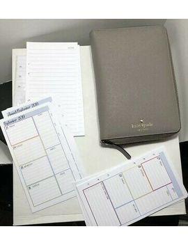 Kate Spade Gray Grey Cream Mikas Pond Zip Organizer Planner Agenda Grand Street by Ebay Seller