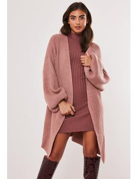 Rose Rib Balloon Sleeve Oversized Cardigan by Missguided
