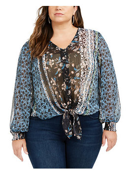 I.N.C. Plus Size Printed Tie Front Blouse, Created For Macy's by General