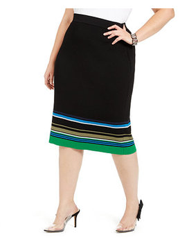 I.N.C. Plus Size Metallic Striped Skirt, Created For Macy's by General
