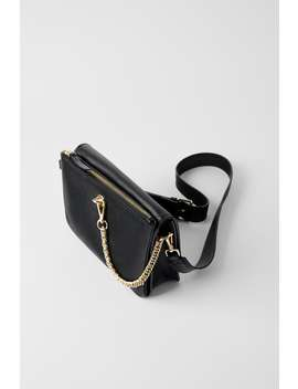 Leather Crossbody Bag With Chain Detail  Back To Office Bags Woman by Zara