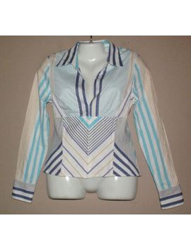 Womens Cache Striped Shirt Top Blouse Size 12 Corset Stays Bustier Seams by Cache
