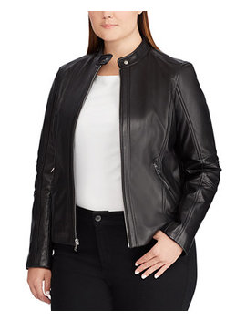 Plus Size Band Collar Leather Moto Jacket by General
