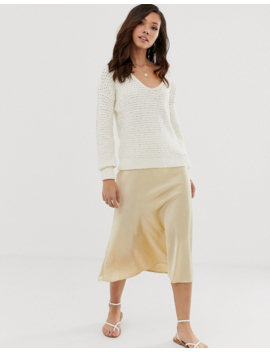 Abercrombie &Amp; Fitch Scoop Knit Sweater In Cream by Abercrombie & Fitch