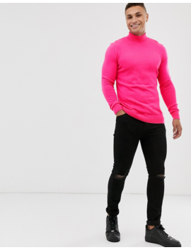 New Look Roll Neck In Neon Pink by New Look