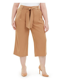 Plus Size Tummy Control Tie Waist Culottes, Created For Macy's by General