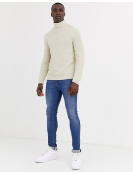 Asos Design Tall Roll Neck Sweater With Diagonal Rib Texture In Ecru by Asos Design