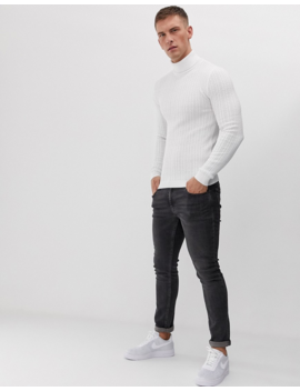 Asos Design Muscle Fit Cable Roll Neck Sweater In White by Asos Design