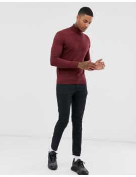Asos Design Cotton Roll Neck Sweater In Burgundy by Asos Design