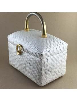 1950s Koret Basket Bag In White Wicker Rattan With White And Gold Koret Leather Lining, Italian Designer Handbag, Vintage Retro Purse White by Etsy