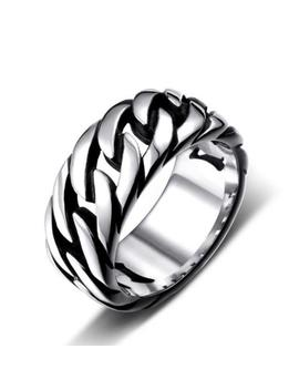 Men Women Cool Punk Stainless Steel Creative Locomotive Chain Ring Band Jewelry by Unbranded