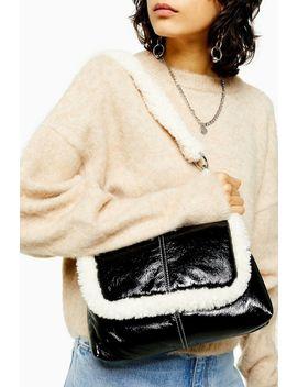 Idol Fleur Black Borg And Vinyl Shoulder Bag by Topshop