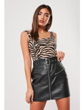 Brown Zebra Print Square Neck Bodysuit by Missguided