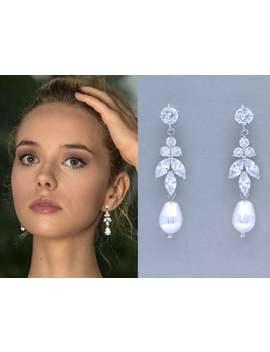 Crystal Marquise & Teardrop Bridal Earrings, Crystal Pearl Drop Dangle Earrings, Cz Bridesmaids Earrings, Denise C by Etsy