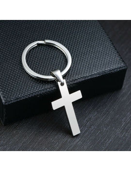 Fashion Men Belt Key Chain Keyring Dog Tag Christian Cross Dangle Stainless Steel by Unbranded