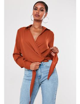Tan Wrap Tie Side Blouse by Missguided
