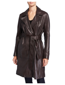 Belted Leather Trench Coat by Neiman Marcus Leather Collection
