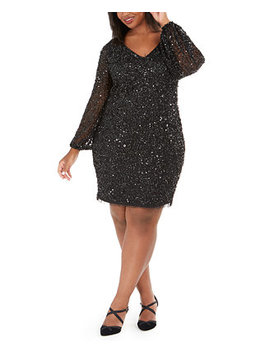 Plus Size V Neck Beaded Cocktail Dress by General