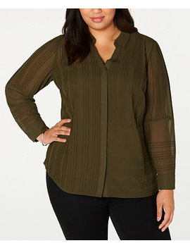 Plus Size Textured Button Front Top, Created For Macy's by General