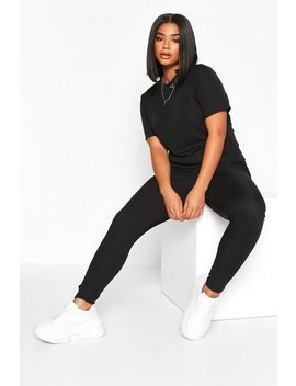 Plus Rib T Shirt + Legging Co Ord by Boohoo
