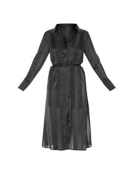 Black Satin Midi Shirt Dress by Prettylittlething