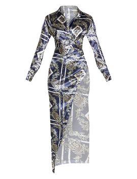 Black Scarf Satin Drape Extreme Split Maxi Shirt Dress by Prettylittlething