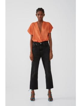 Contrast Satin Effect Bodysuit Bodysuitswoman by Zara
