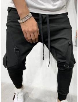 Popular Sale Ribbon Pockets Long Elastic Sport Jogger Pants   Black L by Zaful