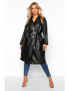 Plus Pu Belted Wrap Coat by Boohoo
