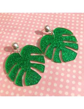 Large Glittery Palm Leaf Earrings Hook Stud Or Clip On by Etsy