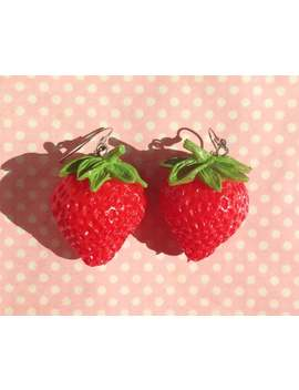 Super Sweet Lifesize Strawberry Earrings Hook Or Clip On by Etsy