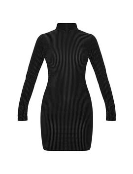 Black High Neck Velvet Sheer Rib Bodycon Dress by Prettylittlething