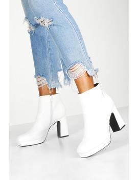 Block Heel Platform Shoe Boots by Boohoo