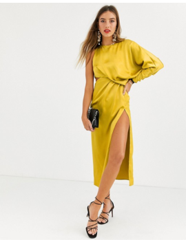 Asos Design Copenhagen Satin One Sleeve Midaxi Dress by Asos Design